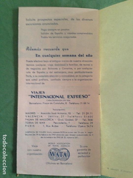 Folletos de turismo: VIAJES INTERNACIONAL EXPRESO - FOLLETO EXCURSIONES COLECTIVAS AÑO 1952 - Foto 4 - 124437627