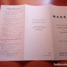 Folletos de turismo: MADRID. MONUMENTOS ARTISTICOS Y LUGARES DE INTERES - AÑO 1963 - SUBSECRETARIA DE TURISMO. Lote 125905107