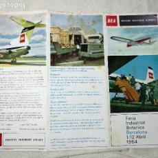 Folletos de turismo: TRIPTICO PUBLICITARIO BEA BRITISH EUROPEAN AIRWAYS...FERIA INDUSTRIAL BARCELONA 1964. Lote 131413130
