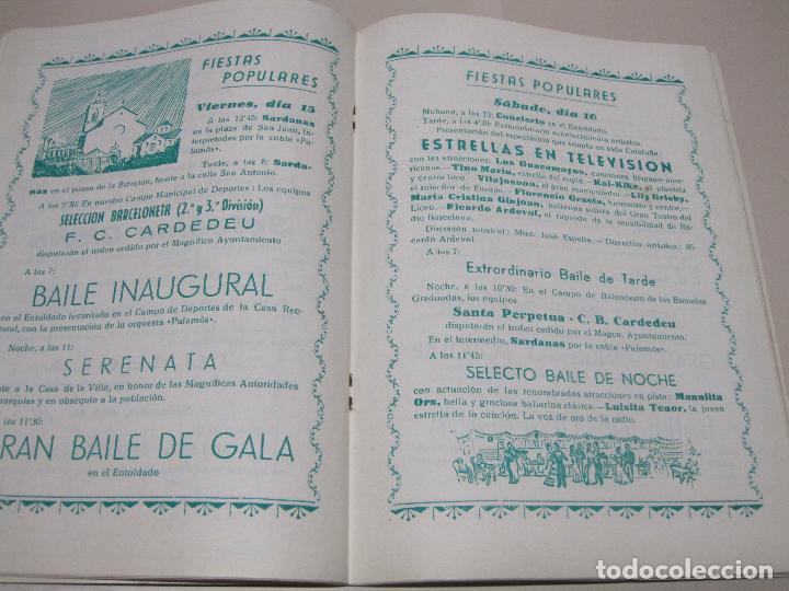 Folletos de turismo: Programa Fiesta Mayor Villa de Cardedeu 1958. - Foto 2 - 132466278