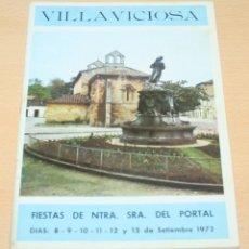Folletos de turismo: VILLAVICIOSA FIESTAS NUESTRA SEÑORA DEL PORTAL 1972. Lote 133766994