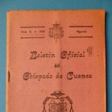 Folletos de turismo: CUENCA - BOLETIN OFICAL DEL OBISPADO - Nº 8, AGOSTO DE 1961. Lote 135864746
