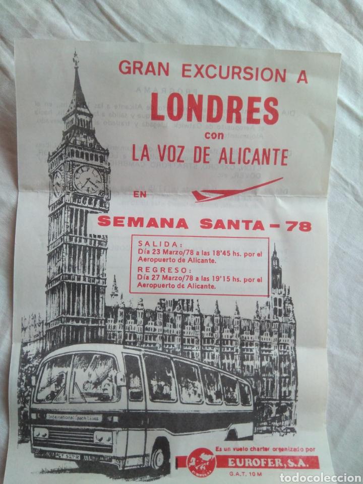 PUBLICIDAD VIAJES LEUKA, EUROFER S.A., ALICANTE/ EXCURSIÓN A LONDRES CON LA VOZ DE ALICANTE, 1978, usado segunda mano