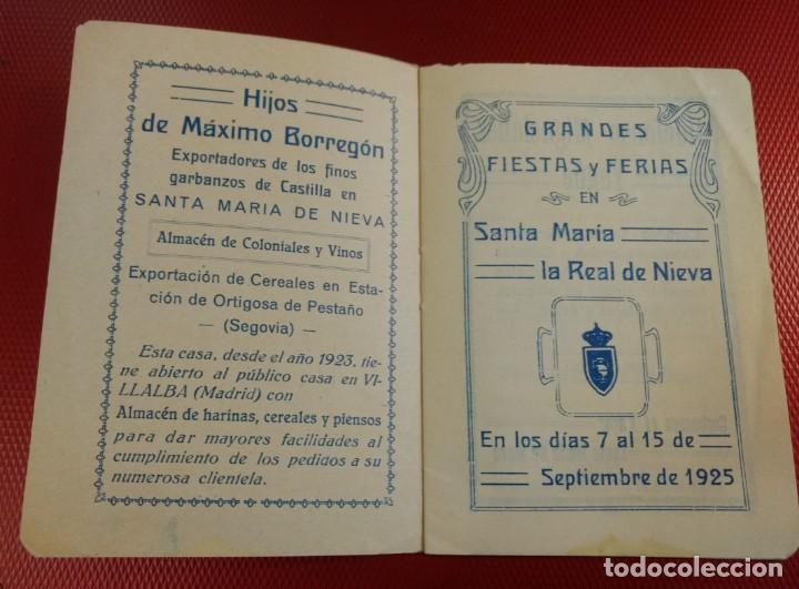 Folletos de turismo: SANTA MARÍA LA REAL DE NIEVA (Segovia) FIESTAS Y FERIAS 1925 - Foto 2 - 138760582