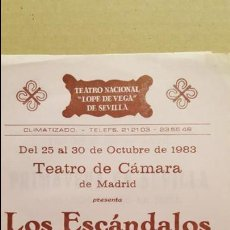 Folletos de turismo: FOLLETO TEATRO LOPE DE VEGA SEVILLA.- 1983. LOS ESCANDALOS DE UN PUEBLO. TEATRO CAMARA DE MADRID . Lote 139404214