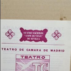 Folletos de turismo: FOLLETO TEATRO LOPE DE VEGA SEVILLA.- 1983. TEATRO DE CAMARA DE MADRID. LOS ESCANDALOS DE UN PUEBLO. Lote 139453514