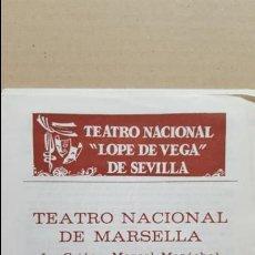 Folletos de turismo: FOLLETO TEATRO LOPE DE VEGA SEVILLA.- 1983. TEATRO NACIONAL DE MARSELLA. LA CRIEE.- MARCEL MARECHAL. Lote 139565538