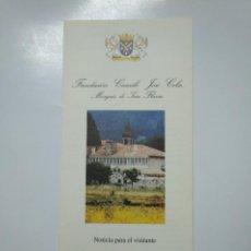 Folletos de turismo: FOLLETO DE LA FUNDACION CAMILO JOSE CELA. 2002. TDKP13. Lote 141892866