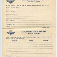 Folletos de turismo: TARJETAS PARA SUGERENCIAS Y RECOMENDACIONES DE LINEA AÉREA DE HOLANDA KLM, AVIACIÓN. Lote 145191218