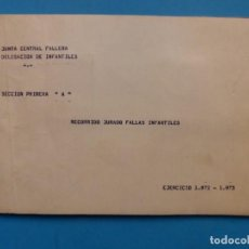 Folletos de turismo: VALENCIA FALLAS - RECORRIDO JURADO FALLAS INFANTILES, JUNTA CENTRAL FALLERA - AÑO 1973. Lote 146219806