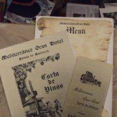 Folletos de turismo: LOTE MENUS CARTAS GRAN HOTEL MEDITERRANEO MALLORCA - VINOS , SANDWICHS Y MENU DIARIO AÑOS 60. Lote 148568642