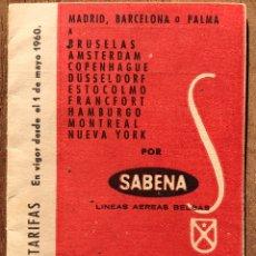 Folletos de turismo: FOLLETO COMPAÑIA AEREA SABENA 1960. Lote 151566746