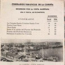 Folletos de turismo: FOLLETO ITNERARIOS TURISTICOS LA CORUÑA AÑOS 40. Lote 154466132