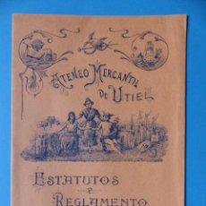 Folletos de turismo: UTIEL, VALENCIA - ATENEO MERCANTIL, ESTATUTOS Y REGLAMENTO - AÑO 1914, VER DESCRIPCION Y FOTOS. Lote 156981690