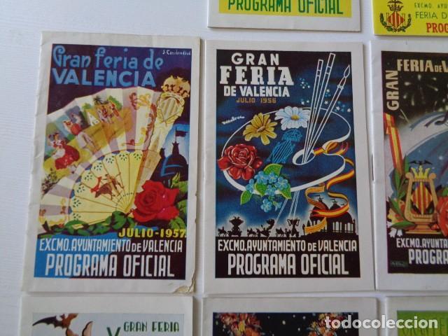 Folletos de turismo: VALENCIA. GRAN FERIA DE JULIO. LOTE DE 10 PROGRAMAS OFICIALES DISTINTOS. AÑOS 1950 - 1959 - Foto 3 - 157243530