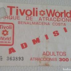 Folletos de turismo: ENTRADA PARQUE DE ATRACCIONES TIVOLI WORLD DE BENALMÁDENA Y PANFLETO SITUACIÓN ATRACCIONES.. Lote 164237225