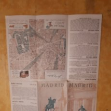 Folletos de turismo: FOLLETO TURISMO DESPLEGABLE CON MAPA MADRID. Lote 164820716