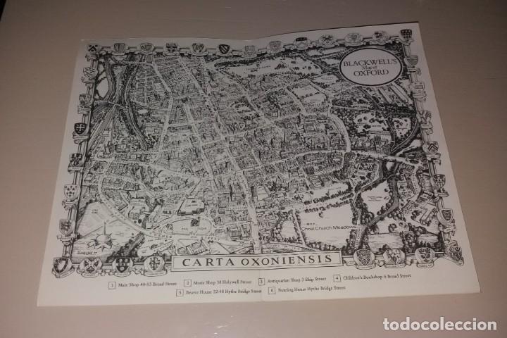 Folletos de turismo: Papel antiguo. Mapa de Oxford de las librerías Blackwell's. Años 60/70 - Foto 2 - 166129434