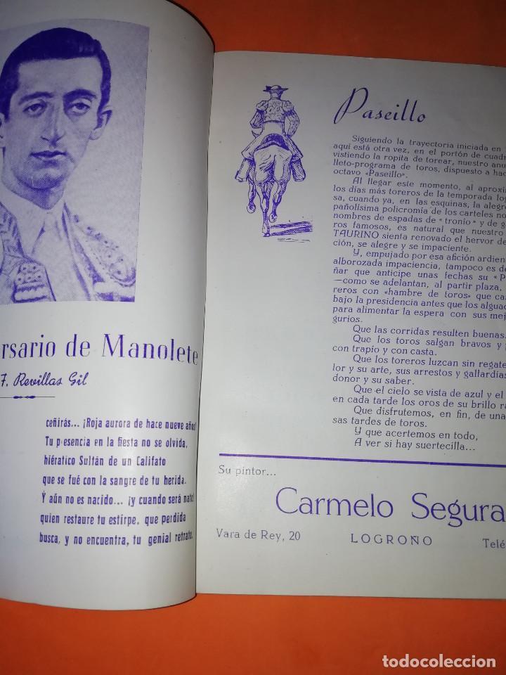 Folletos de turismo: CLUB TAURINO LOGROÑO. LIBRITO DE SAN MATEO 1956. - Foto 3 - 167921208