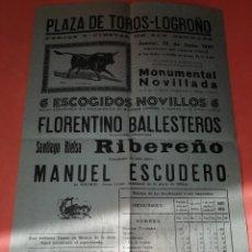 Folletos de turismo: CARTEL TOROS LOGROÑO. JUNIO 1941. TAMAÑO FOLIO. BUEN ESTADO.. Lote 168024608