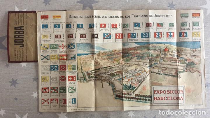 FOLLETO EXPOSICION DE BARCELONA ,BANDERAS DE LAS LINEAS DE LOS TRANVIAS DE BARCELONA. (Coleccionismo - Folletos de Turismo)