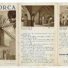 Folletos de turismo: MINORCA - MENORCA. AÑO ¿? (MENORCA.3.4). Lote 169574020
