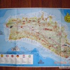 Folletos de turismo: MAPA DE MENORCA CON REFERENCIA DE ACCIDENTES GEOGRÁFICOS, ARQUEOLÓGICOS, GEOPOLÍ...1976(MENORCA.1.5). Lote 170429968