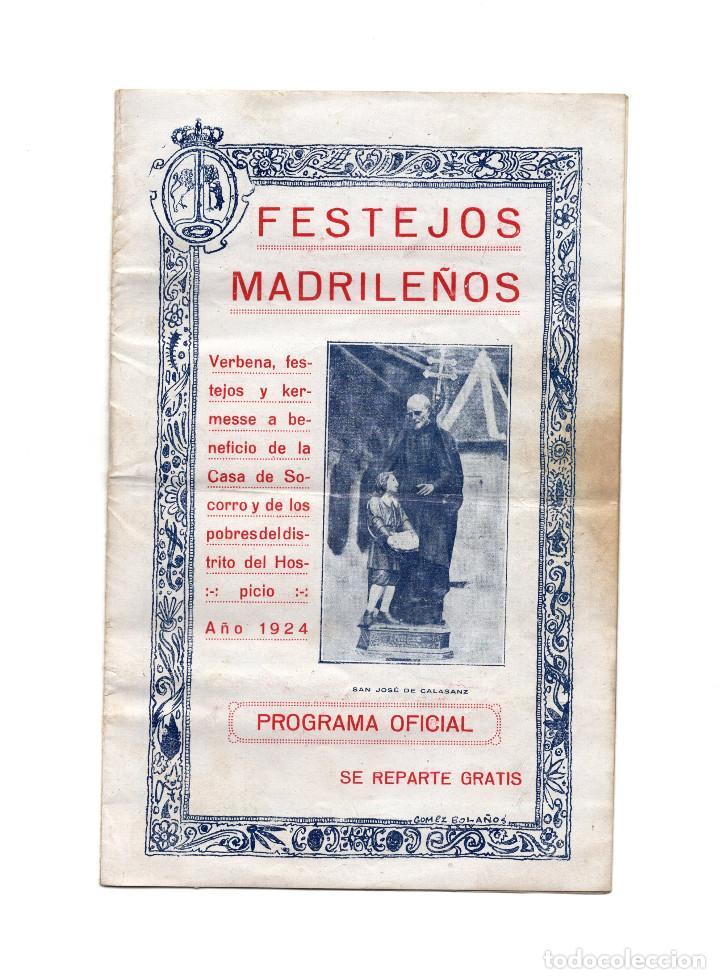 MADRID.- FESTEJOS MADRILEÑOS 1924. PROGRAMA DE FIESTAS. VERBENA. (Coleccionismo - Folletos de Turismo)