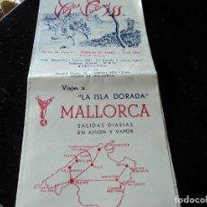 Folletos de turismo: VIAJES VICTORY MALLORCA ANTIGUO TRIPTICO DE VIAJES E ITINERARIOS. Lote 171730214