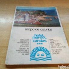 Folletos de turismo: ANTIGUO MAPA TURÍSTICO DE ASTURIAS. 1980. PUBLICIDAD HOTEL PATHOS DE GIJÓN Y HOTEL MARSOL DE CANDAS. Lote 172421479