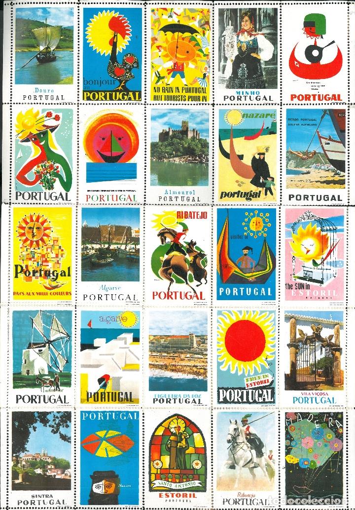 SELLOS TURÍSTICOS DE PORTUGAL (PLIEGO DE 25 SELLOS) (Coleccionismo - Folletos de Turismo)