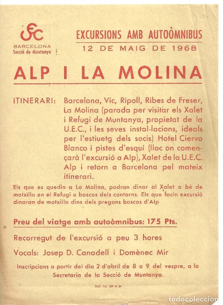 3899.- ALP I LA MOLINA-EXCURSIONS AMB AUTOMNIBUS -UNIO EXCURSIONISTA DE CATALUNYA-DINAR XALET MOLINA (Coleccionismo - Folletos de Turismo)