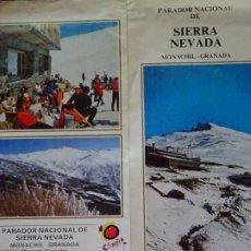 Folletos de turismo: FOLLETO TURÍSTICO. TURISMO. AÑOS 1984 DÍPTICO DEL PARADOR NACIONAL DE SIERRA NEVADA MONACHIL GRANADA. Lote 176364123