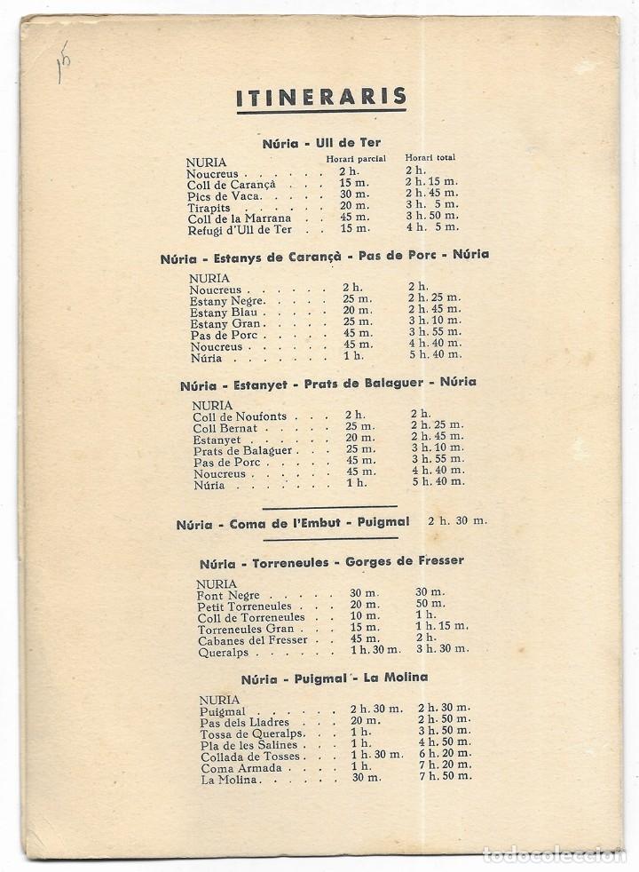 Folletos de turismo: Núria. A.E. Pedraforca Secció de Muntanya. Itineraris 1949 - Foto 2 - 176673482