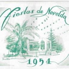 Folletos de turismo: PROGRAMA DE FIESTAS NOVELDA AÑO 1954. Lote 177089678