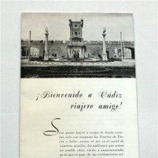 Folletos de turismo: BIENVENIDO A CÁDIZ, VIAJERO AMIGO. AÑOS 60. Lote 177319918