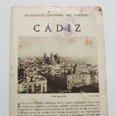Brochures de tourisme: FOLLETO TURÍSTICO DE CÁDIZ. PATRONATO NACIONAL DEL TURISMO. AÑOS 20-30. Lote 177320685