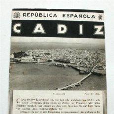 Brochures de tourisme: FOLLETO TURÍSTICO DE CÁDIZ. PATRONATO NACIONAL DEL TURISMO. AÑOS 30. REPÚBLICA ESPAÑOLA. Lote 177321084
