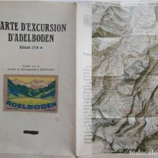 Folletos de turismo: CARTE D'EXCURSION D'ADELBODEN. FECHA APROXIMADA 1930. Lote 178789756