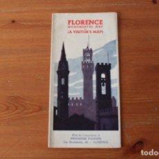 Folletos de turismo: FOLLETO PUBLICITARIO: FLORENCIA (ITALIA) CON PLANO DESPLEGABLE - AÑO 1955. Lote 178919778