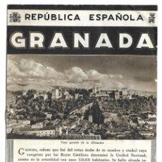 Brochures de tourisme: M50- GRANADA - II REPUBLICA ESPAÑOLA - FOLLETO DE 8 PAGS.PATRONATO NACIONAL DEL TURISMO. Lote 179090032
