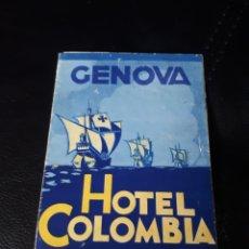 Folletos de turismo: FOLLETO HOTEL COLOMBIA EN GENOVA. Lote 180178250
