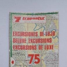 Folletos de turismo: TRAPSATUR 75. EXCURSIONES DE LUJO. OFERTAS DE VIAJES Y PLANO DE MADRID, 1974. Lote 180190825