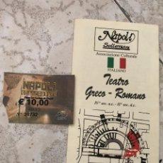 Folletos de turismo: FOLLETO TURÍSTICO DESPLEGABLE Y ENTRADA A NAPOLI SOTTERRANEA Y TEATRO ROMANO, NÁPOLES, ITALIA.. Lote 180240350
