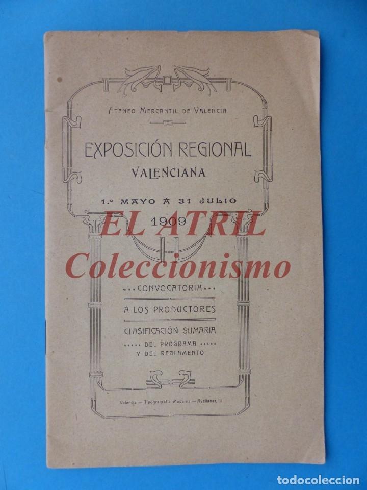 VALENCIA - EXPOSICION REGIONAL VALENCIANA 1909 CONVOCATORIA A LOS PRODUCTORES CLASIFICACION SUMARIA (Coleccionismo - Folletos de Turismo)