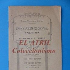 Folletos de turismo: VALENCIA - EXPOSICION REGIONAL VALENCIANA 1909 CONVOCATORIA A LOS PRODUCTORES CLASIFICACION SUMARIA. Lote 180444616