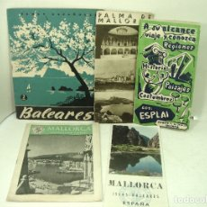 Folletos de turismo: COLECCION 5X - GUIA FOLLETO TURISMO -ISLAS BALEARES MALLORCA AÑOS 1950/60- PLANO MAPA. Lote 180445821