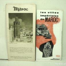 Folletos de turismo: 2X GUIA TURISMO AÑOS 50/60 - MARRUECOS MAROC ESPAÑOL - FOLLETOS PLANO MAPA . Lote 180451281