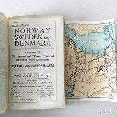 Folletos de turismo: TOURS TO NORWAY, SWEDEN AND DENMARK (COOK & SON LTD, 1927) MAPAS COLOR. Lote 180842946