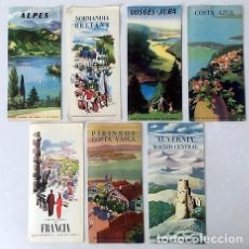 Folletos de turismo: 7 FOLLETOS DE TURISMO S.N.C.F. (FERROCARRILES FRANCESES) 1951-52 MAPAS. COLOR. . Lote 180843222